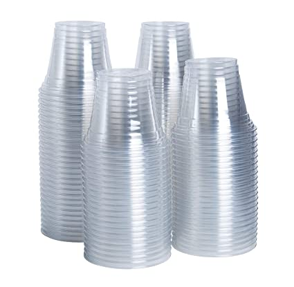 77d57ed22e0a [100 Pack - 9 oz.] Crystal Clear PET Plastic Cups, Party Cups
