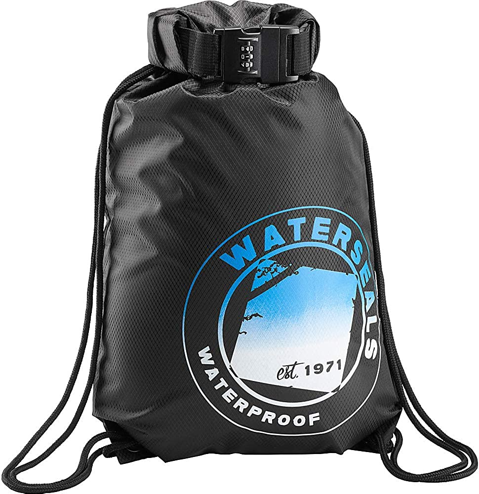 WaterSeals Unisex Anti-Theft Locking Cinch Drawstring Backpack, Waterproof Ripstop Nylon (Protect Wallet iPhone + Valuables)