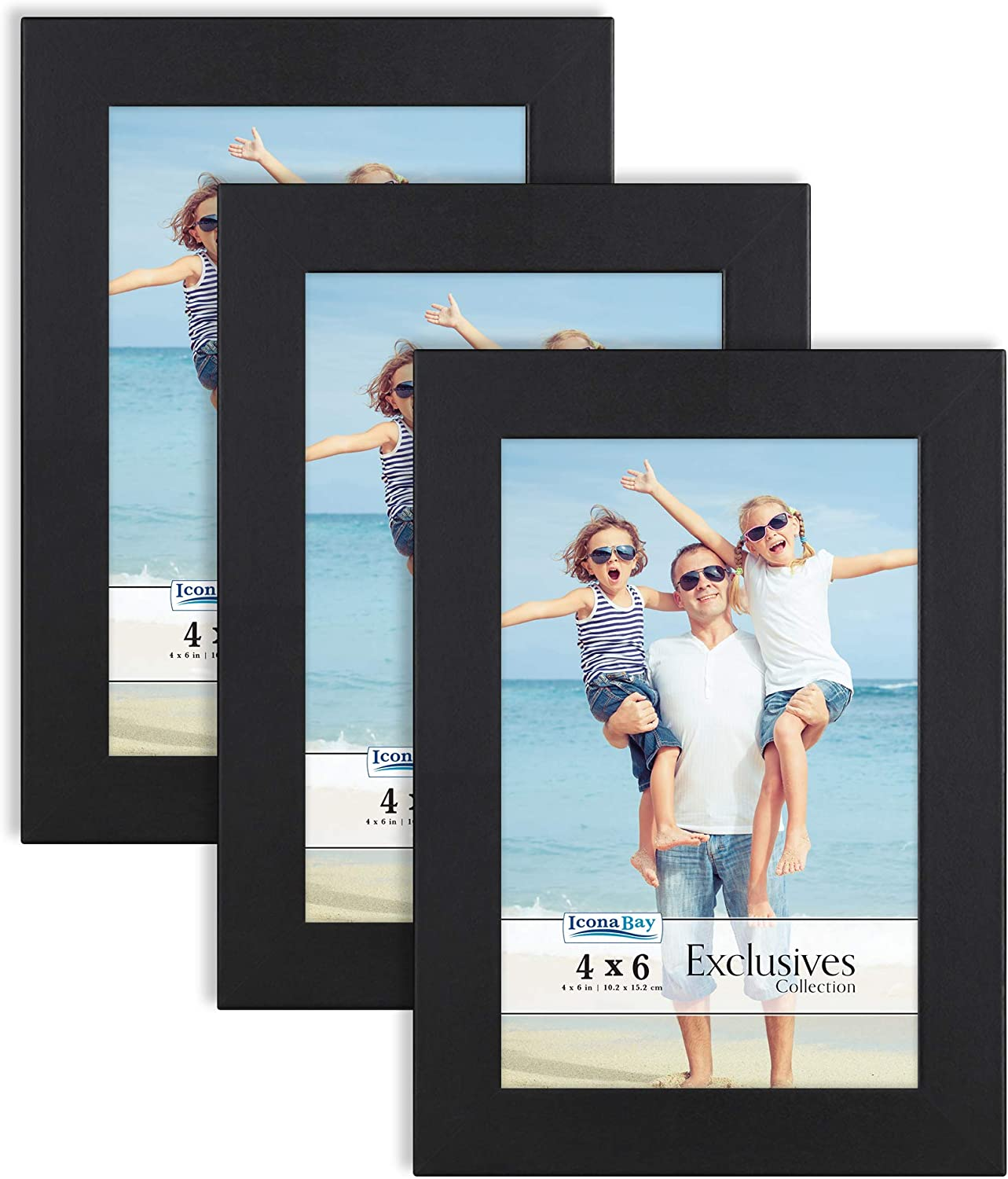 Amazon Com Icona Bay 4x6 Picture Frames Black 3 Pack Sturdy Wood Composite Photo Frames 4 X 6 Sleek Design Table Top Or Wall Mount Exclusives Collection