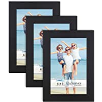 Icona Bay 4x6 (10 x 15 cm) Picture Frames (Black, 3 Pack), Sturdy Wood Composite Photo Frames 4 x 6, Sleek Design, Table…