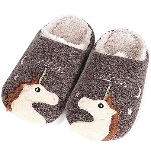 2a783253e7ef JoyJon Unicorn Slippers Cute Animal Low Womens Fuzzy Warm Slippers Fleece  Plush Home Soft Slippers Anti