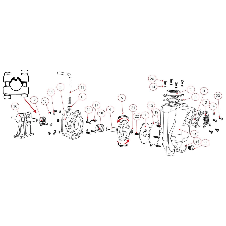 Banjo 200POI Cast Iron Centrifugal Pump Head, Gas Engine Driven, 50 Max Head (ft), 45 psi Max Pressure, 2'' Connection