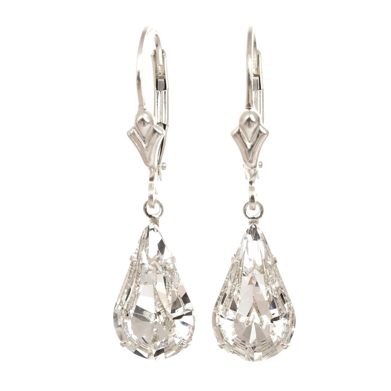 9d91b8c63a52 Pendientes de anzuelo de plata de ley 925 hechos por expertos con lágrima  cristal