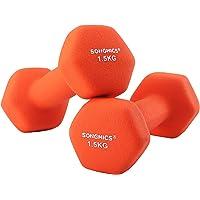 SONGMICS 18 2-delige set halters dumbbell gymnastiekhalter vinyl 2 x 1,5 kg SYL63OG, oranje, 7 x 15 cm