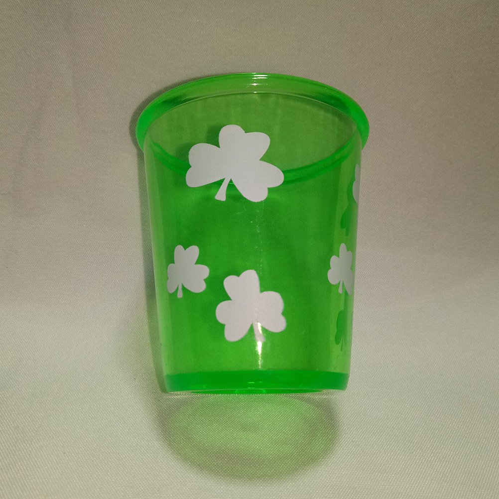 OULII Plastic Shamrock Glasses Cups Saint Patrick Accessory for Saint Patricks Day Decoration Pack 3pcs