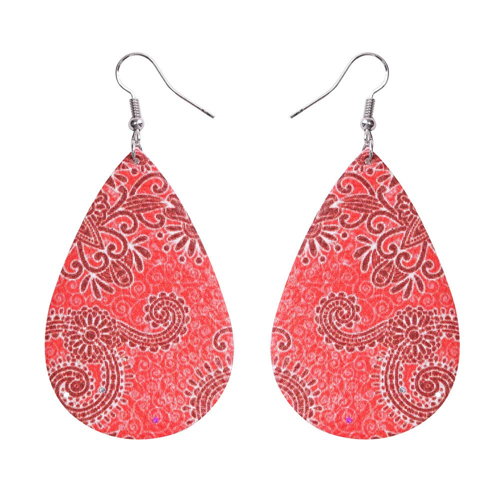 SIVITE Floral Pattern Teardrop Leather Earrings Boho Ethnic Leather Drop Dangle Earrings for Women Girls