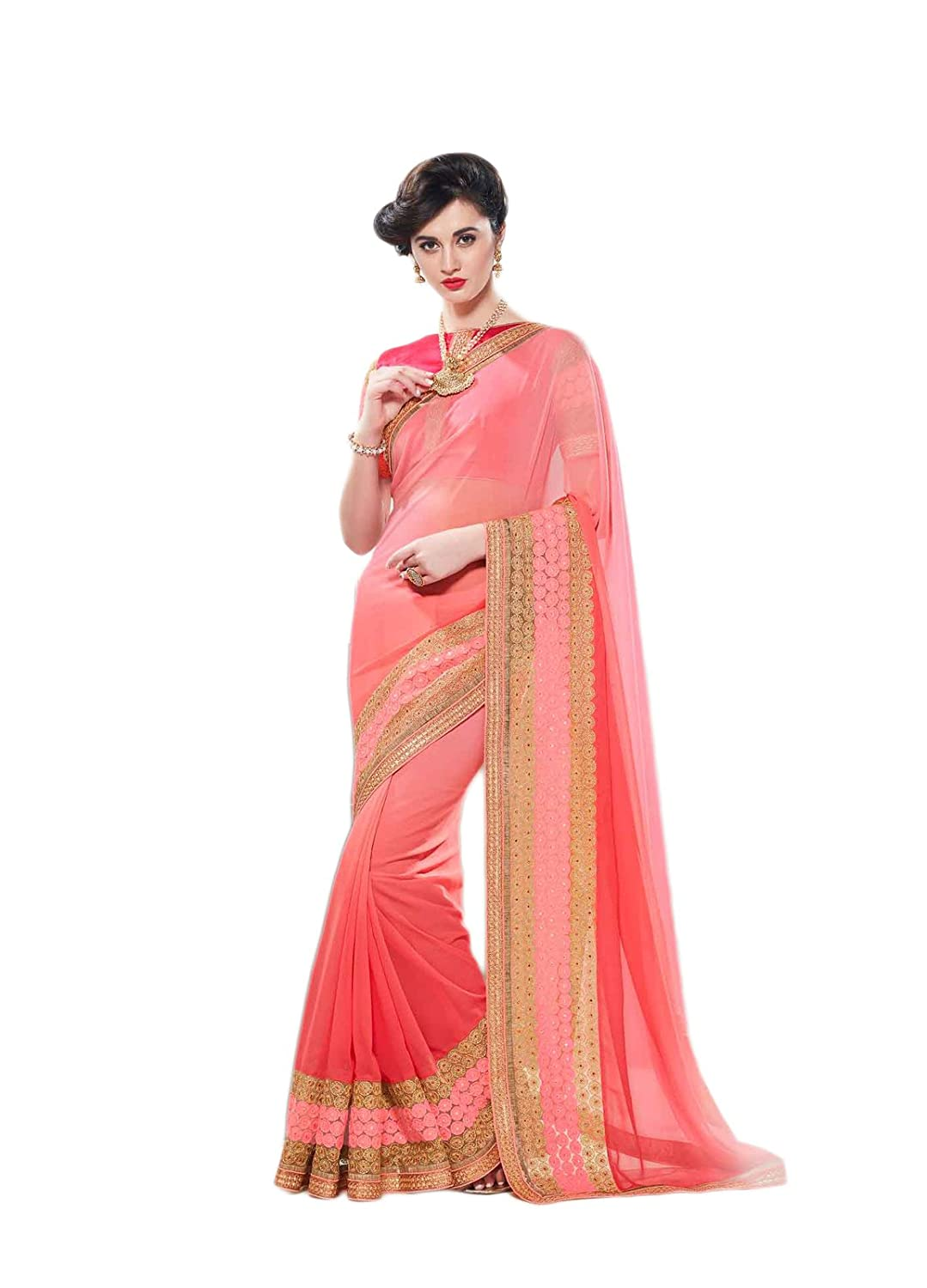 a83b27e2b62 Impressed Collection Imperial Pink Color Faux Georgette Designer Saree   Amazon.in  Clothing   Accessories