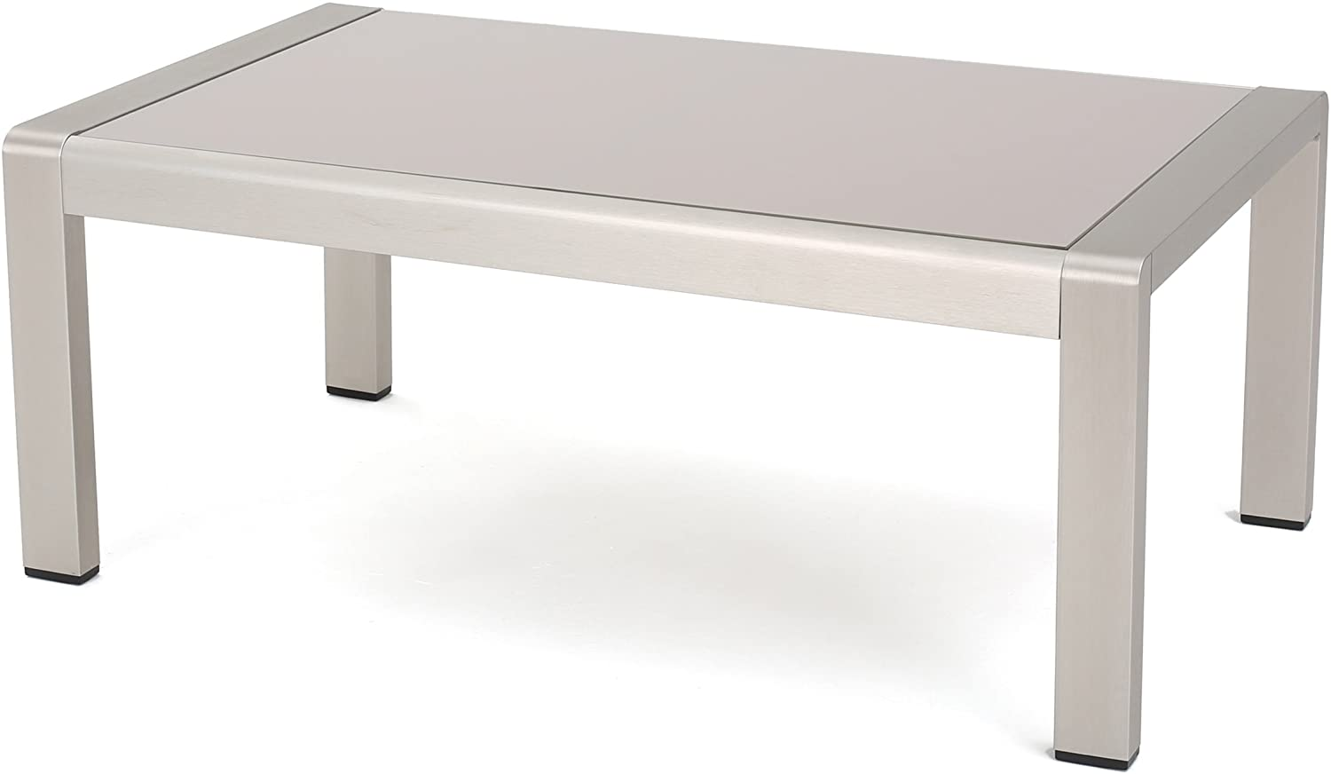 Christopher Knight Home Cape Coral Outdoor Aluminum Coffee Table with Glass Top, Silver : Garden & Outdoor