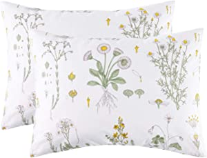 Wake In Cloud - Pack of 2 Pillow Cases, 100% Cotton Pillowcases, White with Yellow Botanical Flowers Green Leaves Floral Garden Pattern Printed (Standard Size, 20x26 Inches)