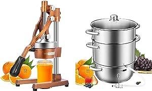 VIVOHOME Heavy Duty Commercial Manual Hand Press Citrus Orange Lemon Juicer Squeezer Machine Golden and 24cm 8.5Qt Stainless Steel Juice Steamer Extractor Fruit Vegetables Juicer Steamer Pot