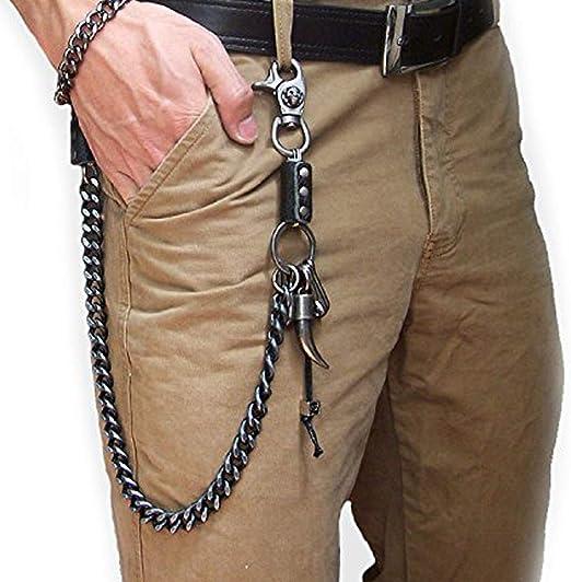 uooom Hombres Moda Punk hip-hop pantalones pantalones clave cadena Rock Non-mainstream cintura cartera cadena