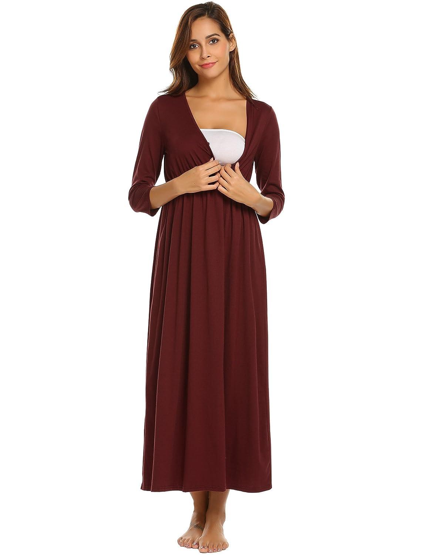Skylin Cotton Nursing Nightgown Women V-Neck 3/4 Sleeve Solid Wraped Ruched Maternity Pregnant Nightdress S-XXL SAMK009610