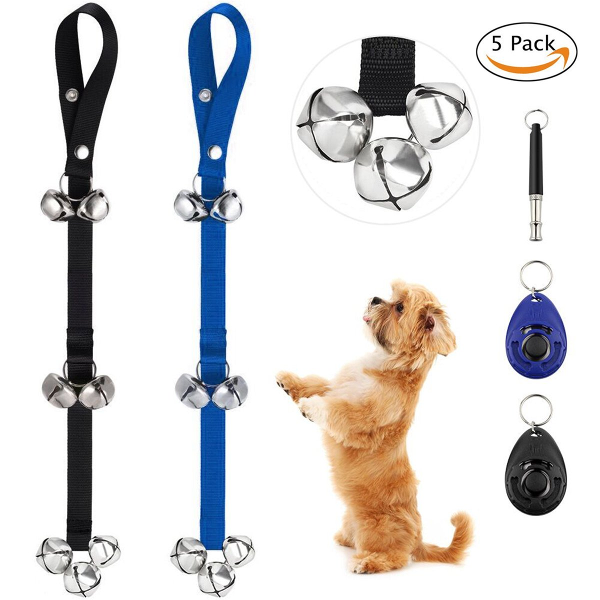 Rainbowee Dog Doorbells for Puppy Potty Training Pack of 2 Adjustable Potty Bell with 7 Extra Large 1.4'' Loud Bells for Dog Training & Housebreaking include 2 Clickers and One Dog Whistle by Rainbowee