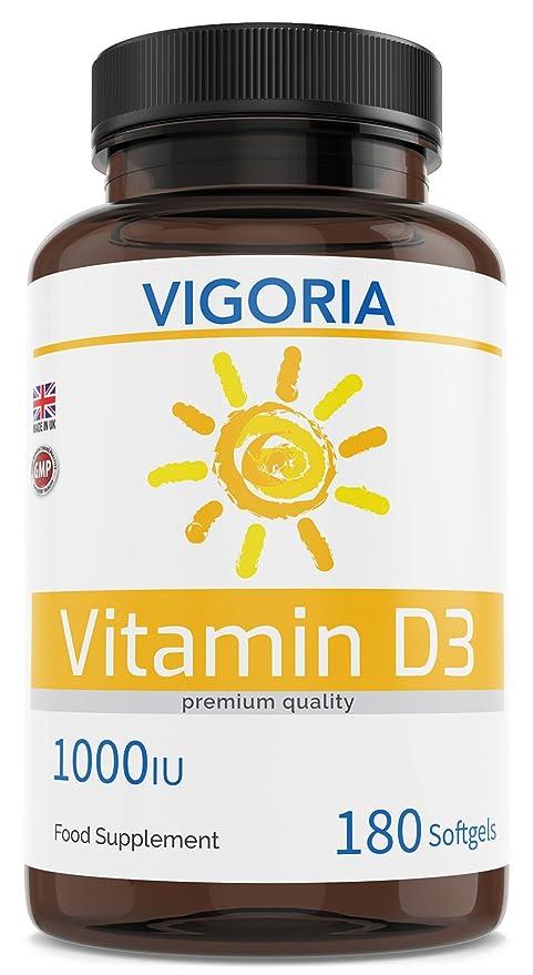 Vitamina D3 1000 UI 180 cápsulas blandas para 6 meses - Músculos Articulaciones Huesos y Dientes