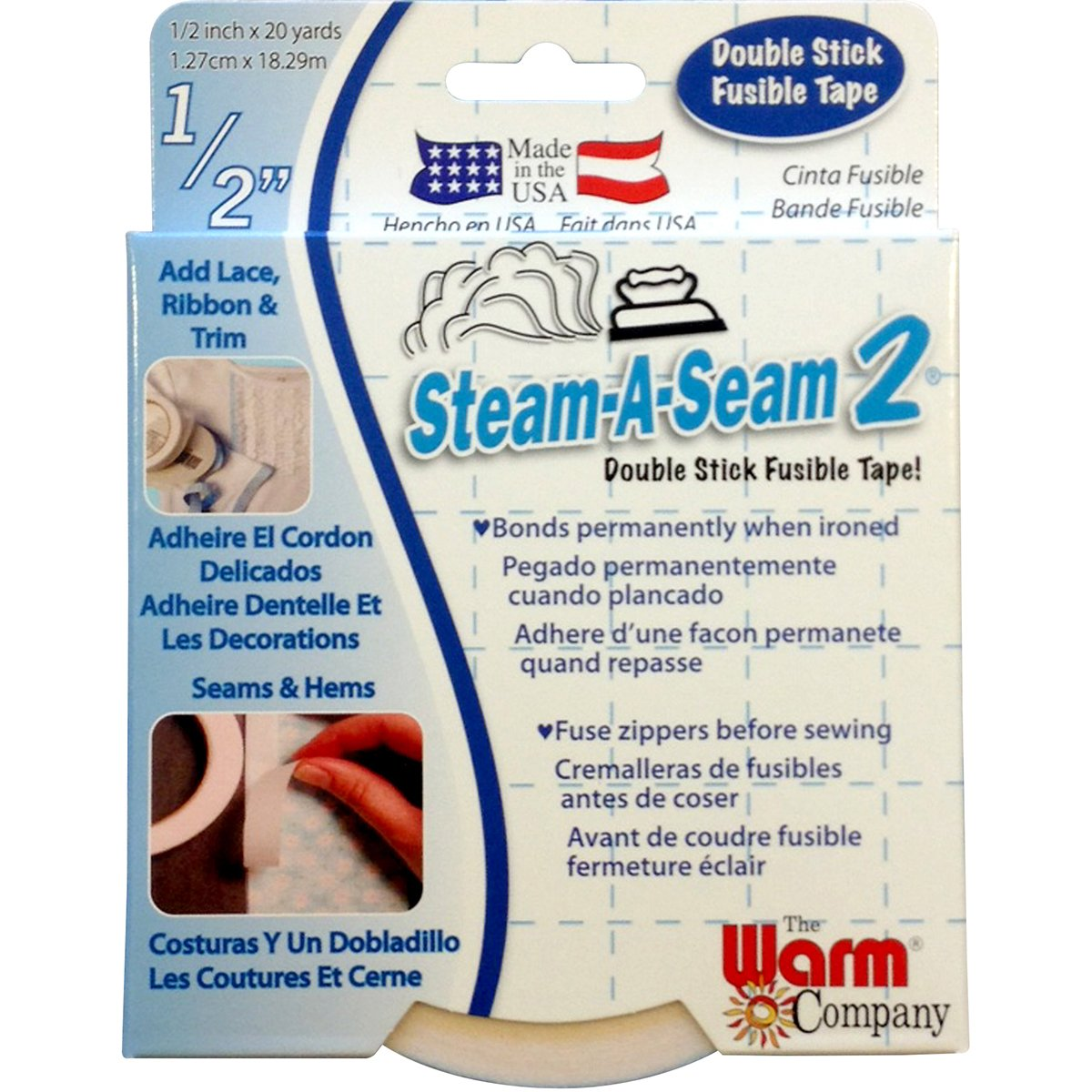 Warm Company Steam-A-Seam 2 Double Stick Fusible Tape 1//2X20 Yards