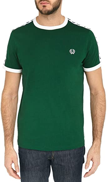 T-SHIRT FRED PERRY TAPED RINGER, COLOR VERDE verde ...