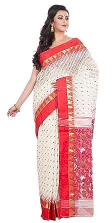 90efee5c744 RLBFashion Women s Cotton Silk Handloom Dhakai Jamdani Saree (Red   White)