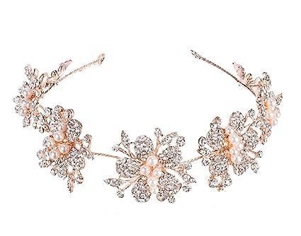 Shelley commercio da sposa fascia con nastri rosa oro con strass e perle  copricapo fasce per 349dd63c256a