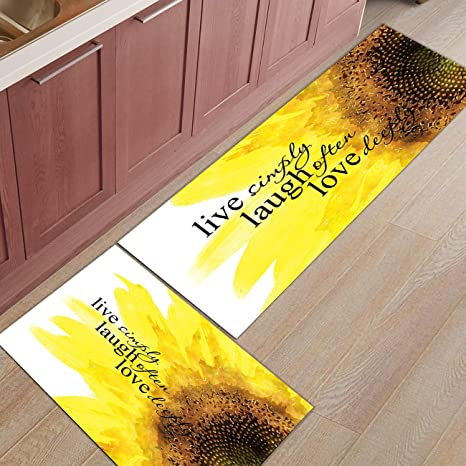 Fantasy Star Kitchen Rugs Sets 2 Piece Kitchen Floor Mats Non-Slip Rubber  Backing Area Rugs Sunflower Doormat Rubber Backing Washable Carpet Inside  ...