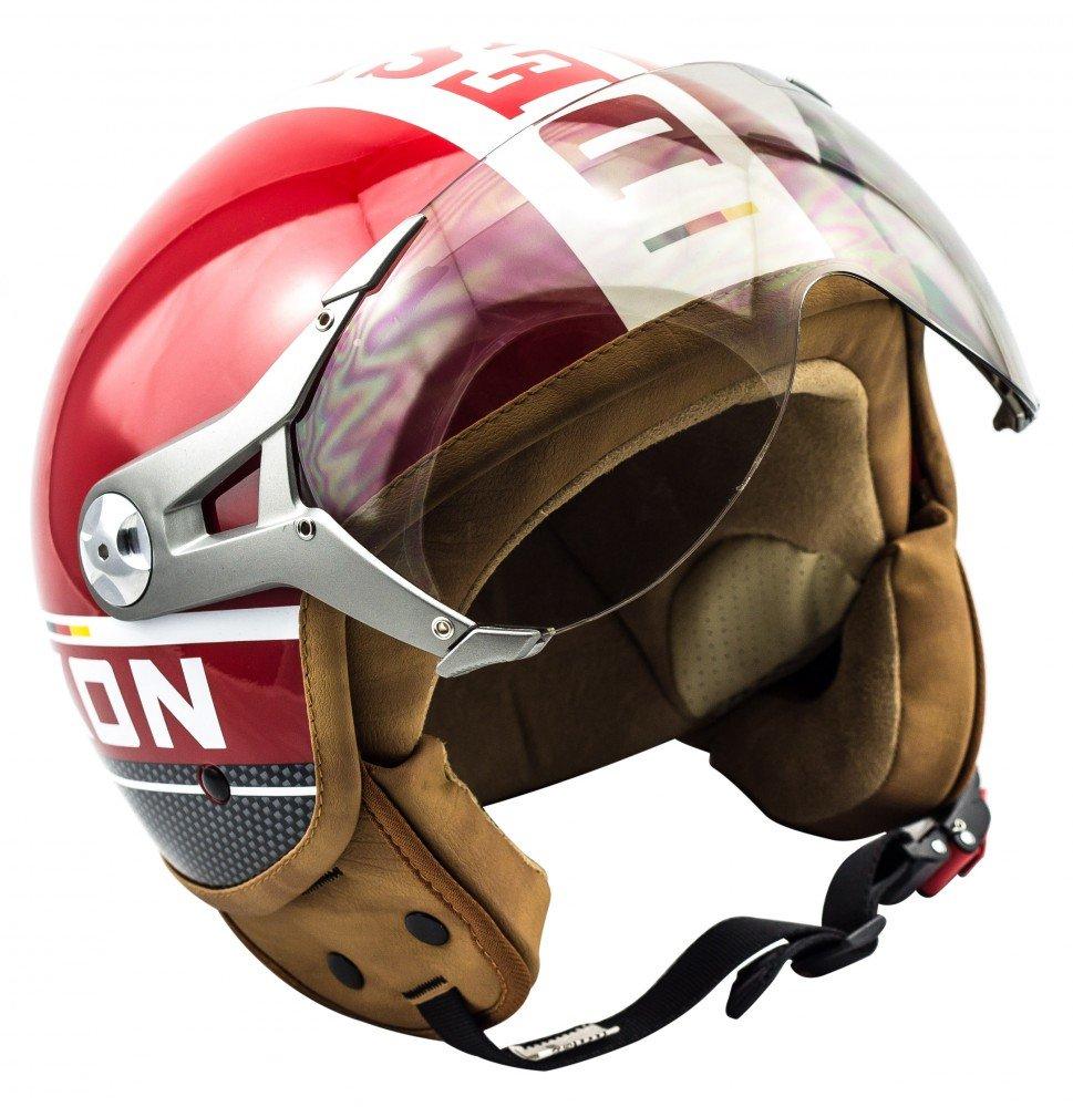 SOXON SP-325-PLUS Titanium · Pilot Retro Jet-Helmet Biker Cruiser Chopper Vintage Vespa-Helmet Scooter-Helmet Mofa Moto-Helmet Bobber · ECE certified · incl. Sun Visor · incl. Cloth Bag · Grey · L (59-60cm)