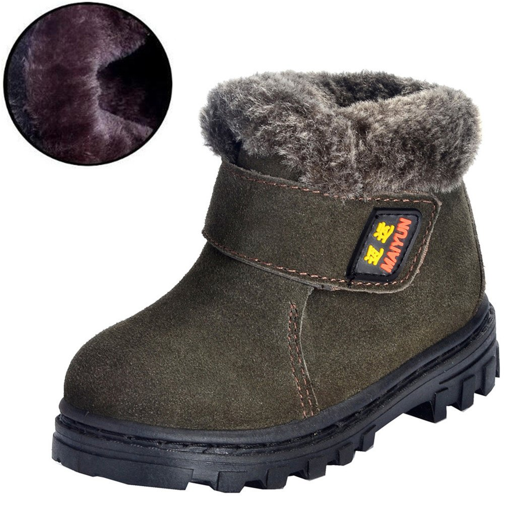 DADAWEN Boy's Girl's Classic Waterproof Suede Leather Snow Boots (Toddler/Little Kid/Big Kid) Green US Size 11 M Little Kid by DADAWEN (Image #2)