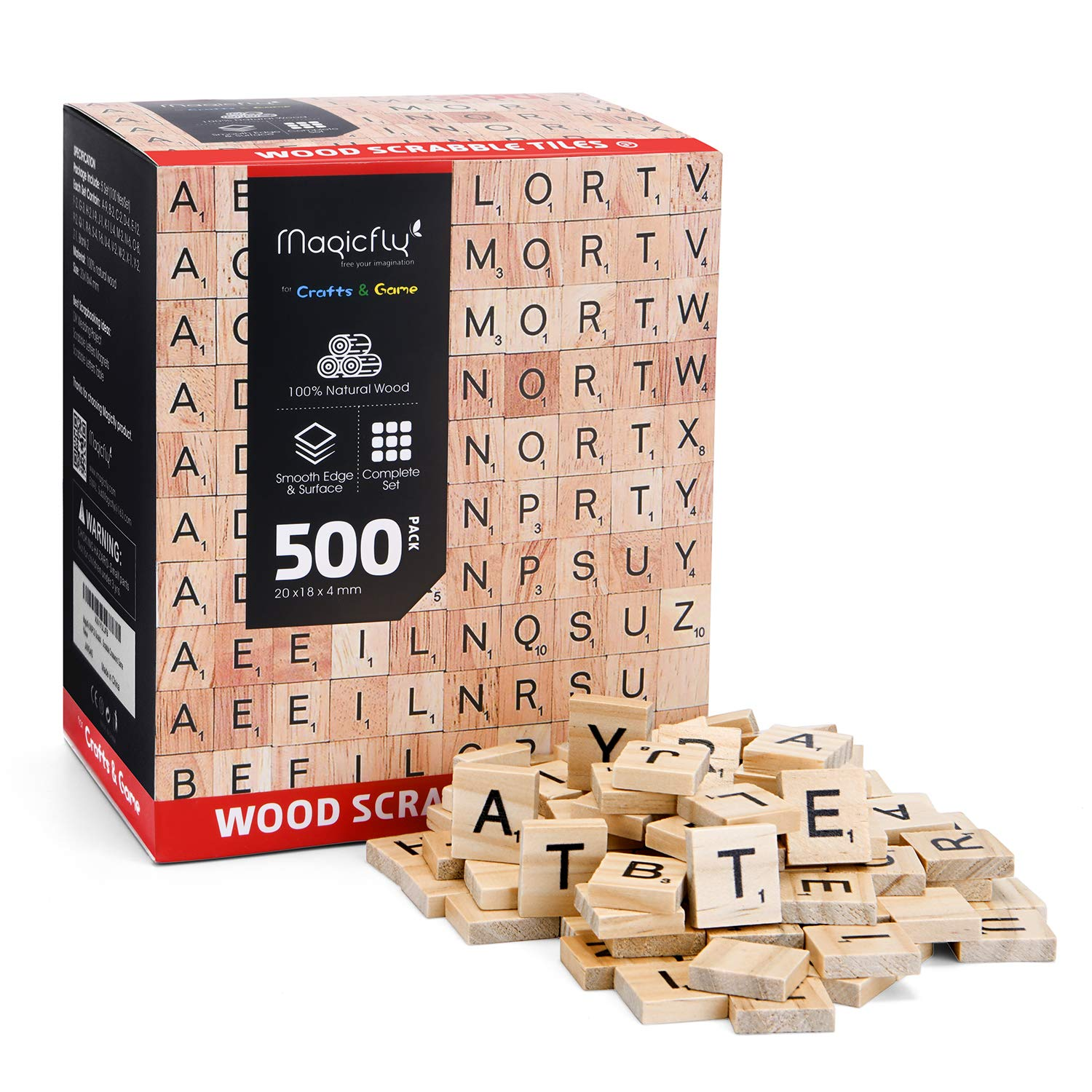Magicfly 500Pcs Scrabble Tiles, Wood Craft Scrabble Letters Word Tiles, A-Z for Wood Gift Decoration & Scrabble Crossword Game by Magicfly