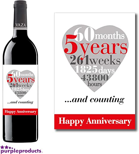 Anniversario Di Matrimonio 5 Anni.Purpleproducts 5th Anniversario Di Matrimonio 5 Anni Wine Label