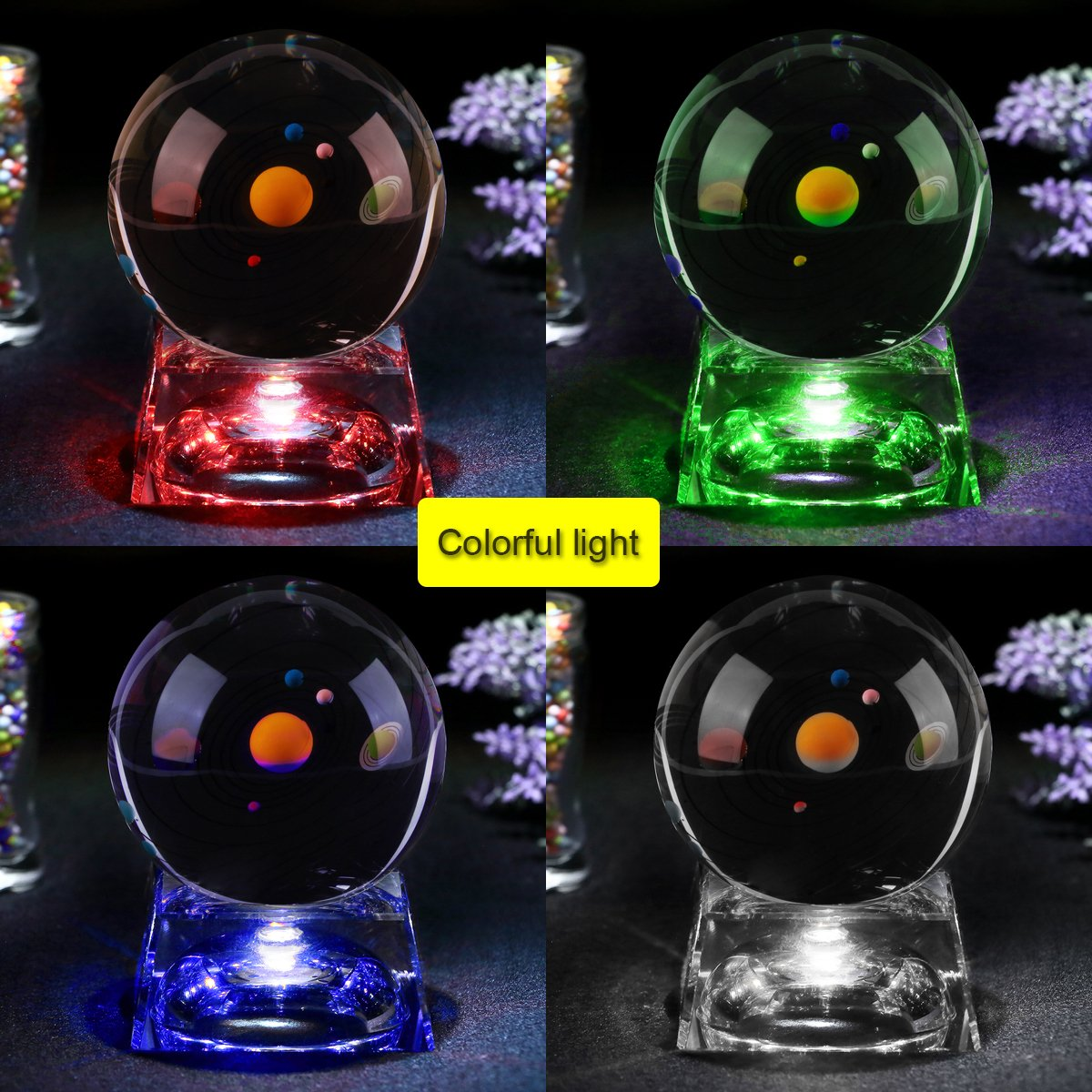 Zulux Solar System Balls - Crystal Ball for Kids with LED Lamp Base, Clear 80mm(3 inch) Glass Sphere for Kids Birthday Gifts, Teacher Gifts,Gift for Anniversary and Boyfriend Birthday by Zulux (Image #2)