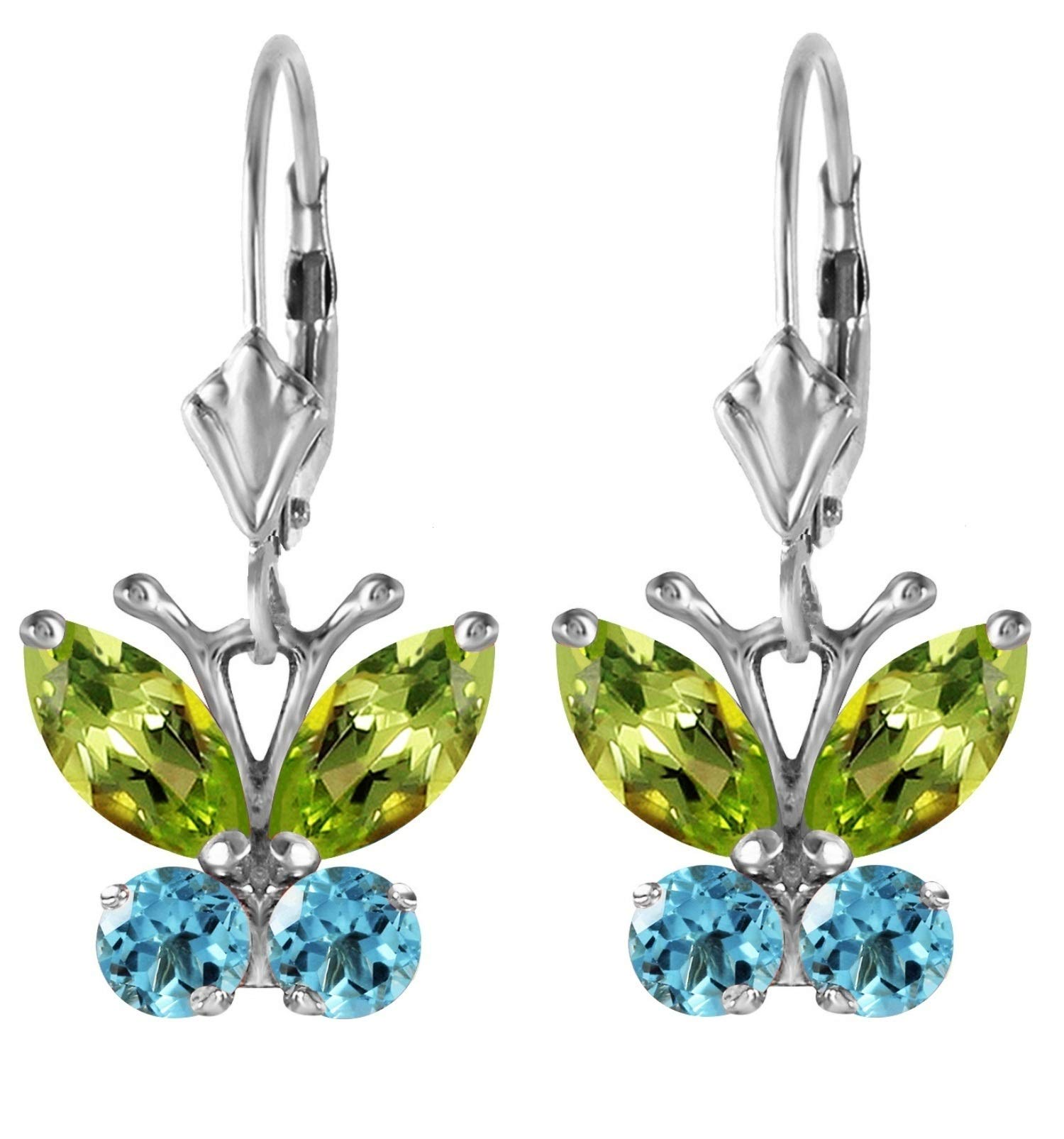 14K Solid White Gold 1.24 ctw Natural Peridot and Natural Blue Topaz Butterfly Design Earrings Leverback Dangling