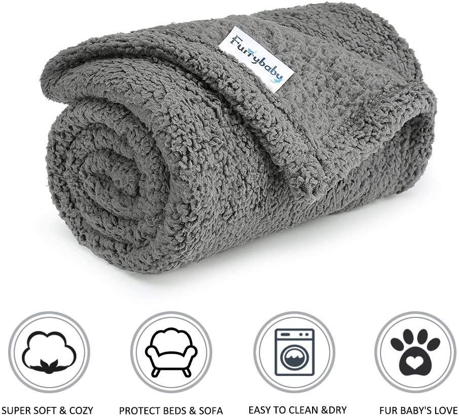 furrybaby Premium Fluffy Fleece Dog Blanket Soft and Warm Pet Throw for Dogs /& Cats