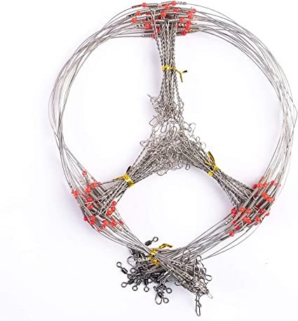 20pcs  Wire Trace Leader Rig 2 Arms Fishing Rigs Tackle Lure Swivel Stainless