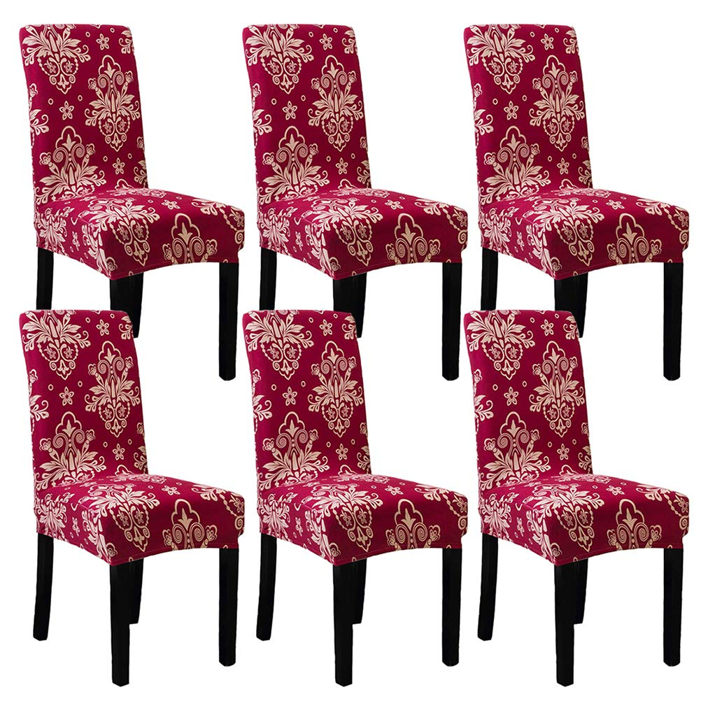 Subcluster 6 Pcs/Set Soft Stretchable Dining Chair Covers with Printed Floral Patterns,Spandex Banquet Chair Seat Protector Slipcovers for Holiday Home Party, Hotel, Wedding Ceremony (Style 8)