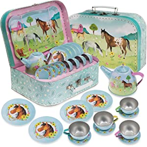 Jewelkeeper 15 Piece Kids Pretend Toy Tin Tea Set & Carrying Case - Horse Design