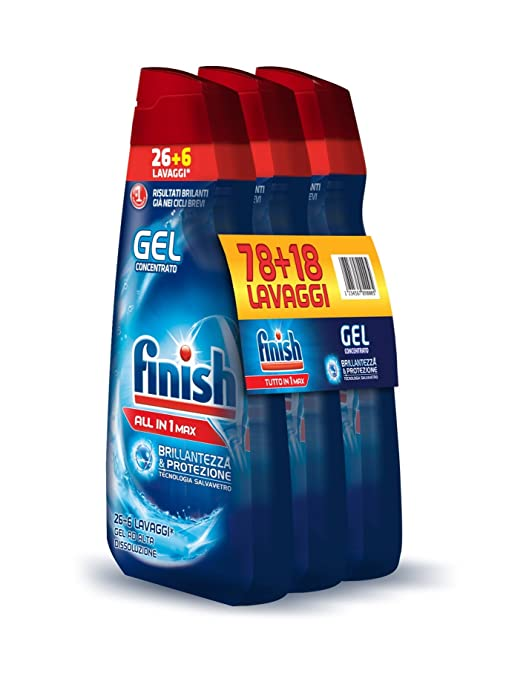 168 opinioni per Finish All in 1 Max Powergel Detersivo Lavastoviglie, Regular, 650 ml x 3