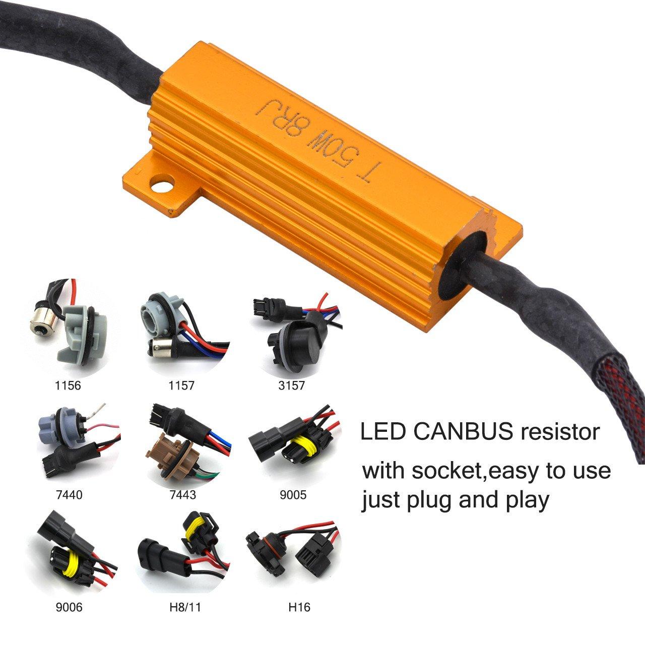 TUINCYN 2pcs 50W 8 ohm 7440 7440NA 7441 992 Led Load Resistors - Fix Headlight LED Bulb Fog Lamp Fast Hyper Flash Turn Signal Blink Light Error Code Canbus Resistors Decoder