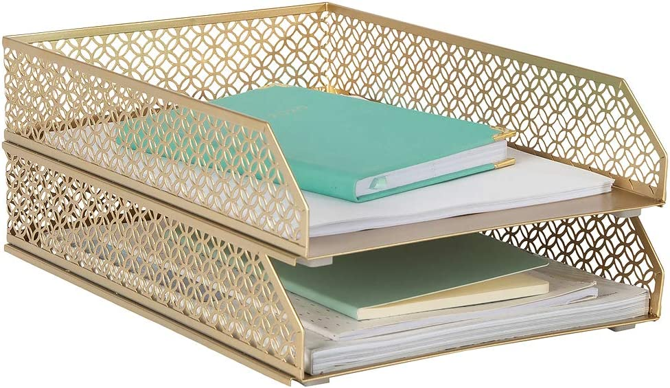 Blu Monaco Gold Desk Organizer Stackable Paper Tray Set of 2 - Metal Two Tier Tray - Stackable Letter Tray - Inbox Tray for Desk