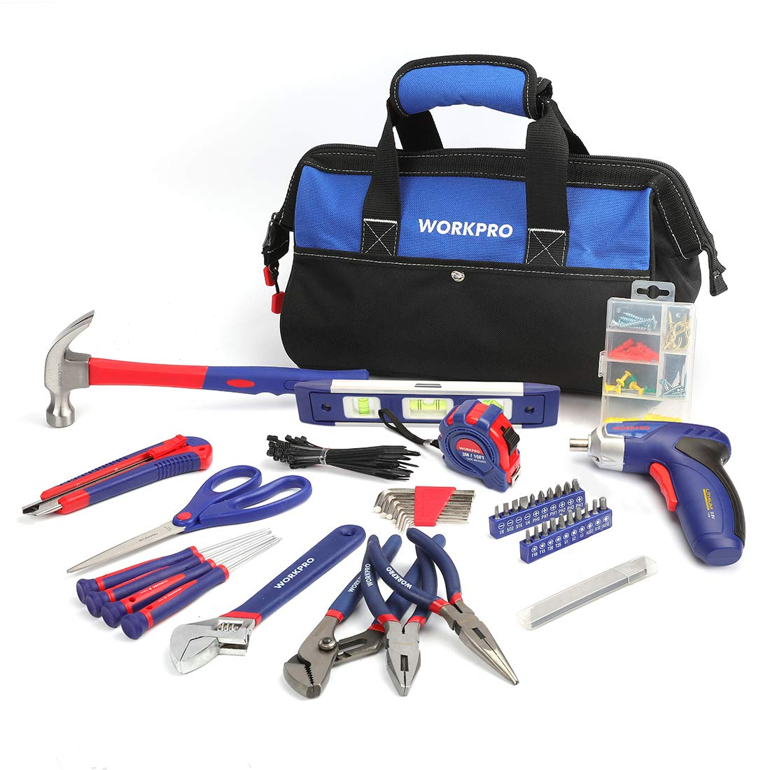 WORKPRO 125-piece Tool Kit - Home Repairing Set with 3.6V Rechargeable Screwdriver and Tool Bag by WORKPRO