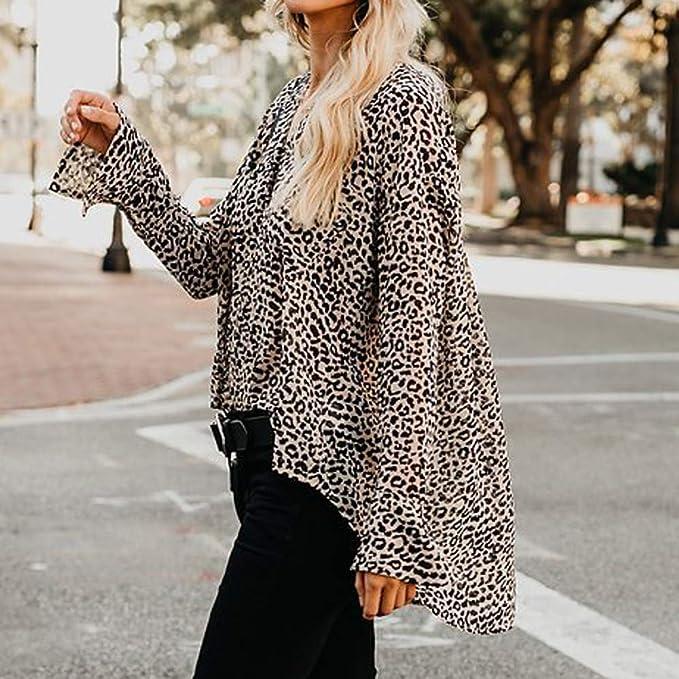 ❤ Blusa con Estampado de Leopardo de Las Mujeres, otoño Invierno V-Cuello Casual Top T Shirt Señoras Blusa de Manga Larga Absolute: Amazon.es: Ropa y ...