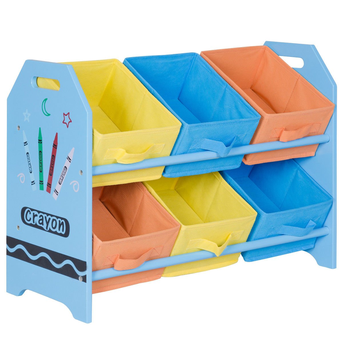 Costzon Kids Toy Organizer with 6 Multi-Color Storage Bins