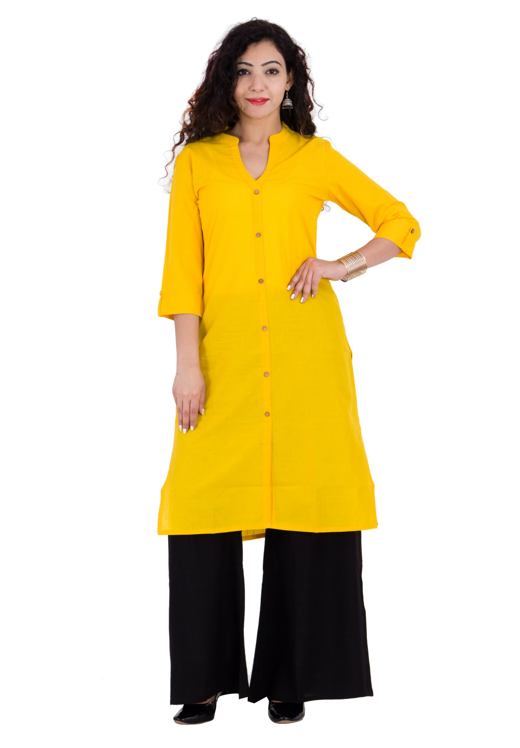 BrightJet Bollywood Yellow Cotton Frontslit Women Fashion Kurti A-Line Kurta Top Tunic With Rayon Solid Black Plazzo Set Party Dress Casual (XXL)