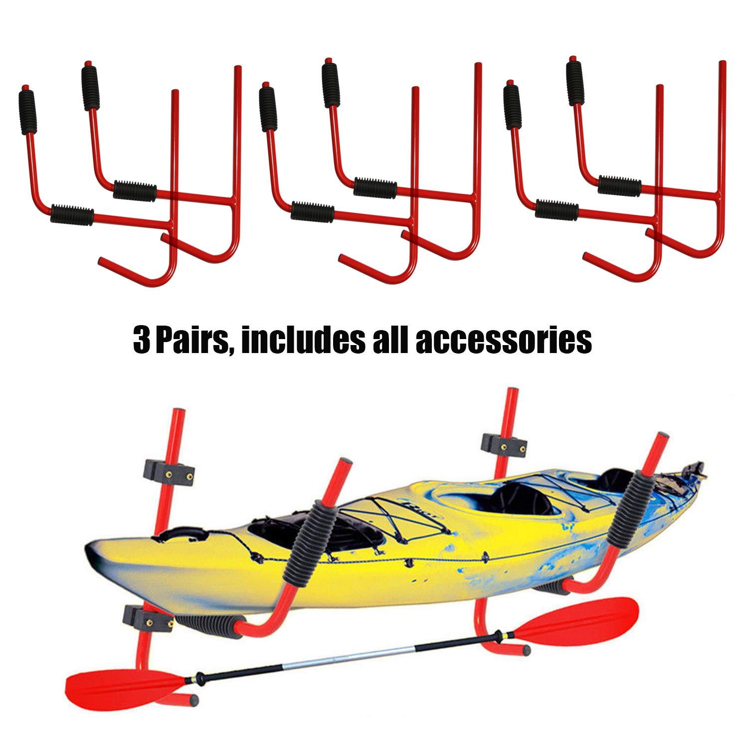 XFMT 3 Pairs Steel Kayak Ladder Wall Mount Storage Rack Surfboard Canoe Folding Hanger by XFMT