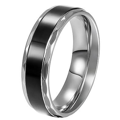 Jewelrywe Bijoux Bague Homme Amour Vintage Engagement Mariage Acier Inoxydable Anneaux Fantaisie Couleur Argent Noir Largeur 6mm Sac Cadeautaille De