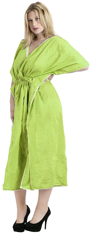 LA LEELA Frauen Damen Rayon Kaftan Tunika Bestickt Kimono freie Gr/ö/ße Lange Maxi Party Kleid f/ür Loungewear Urlaub Nachtw/äsche Strand jeden Tag Kleider CJ