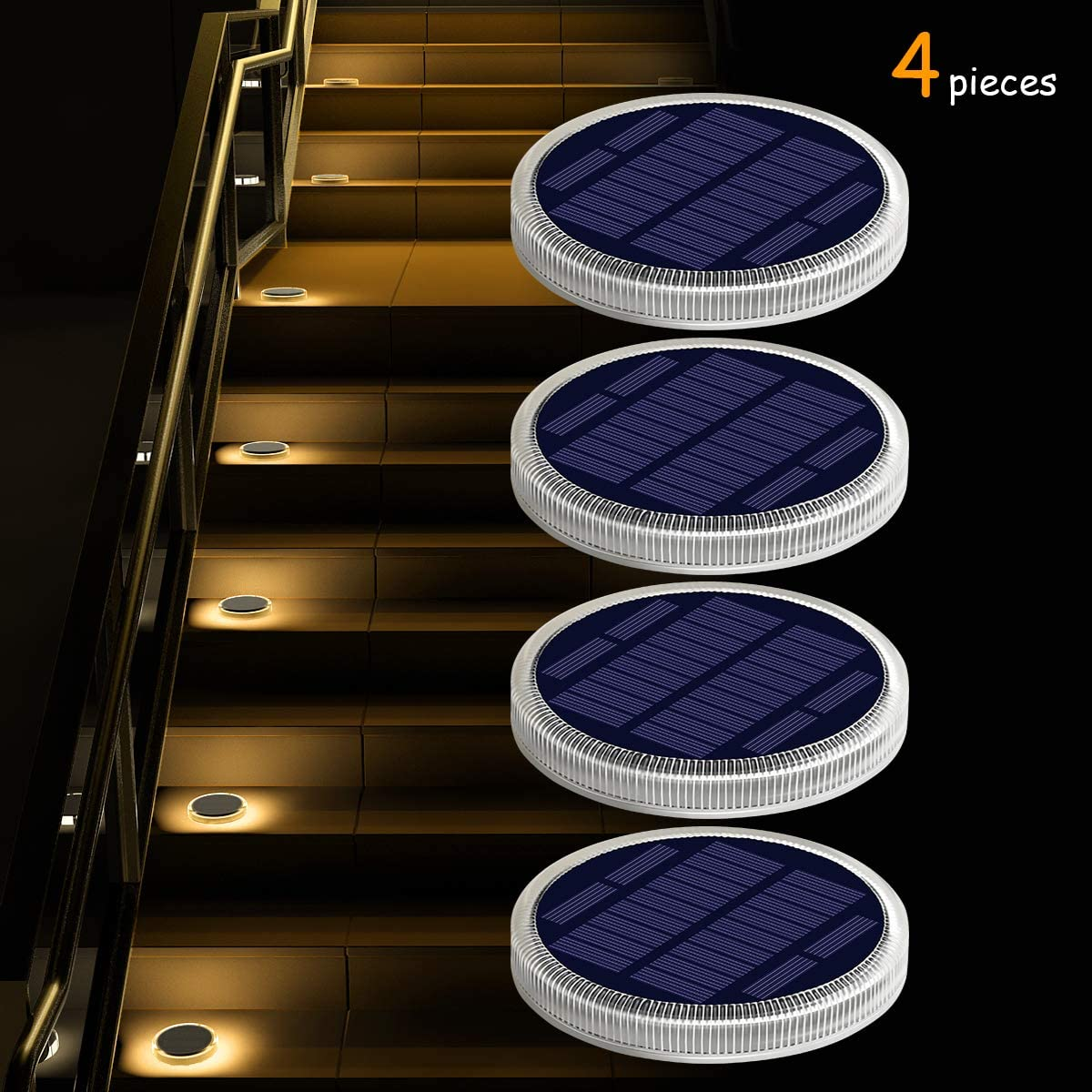 Solar Deck Lights Outdoor Waterproof, Garden Driveway Walkway Pathway Ground Step Dock Lights Solar Powered, LED Solar Lighting for Backyard Patio Lawn, auto ON Off – Warm White 4 Pack