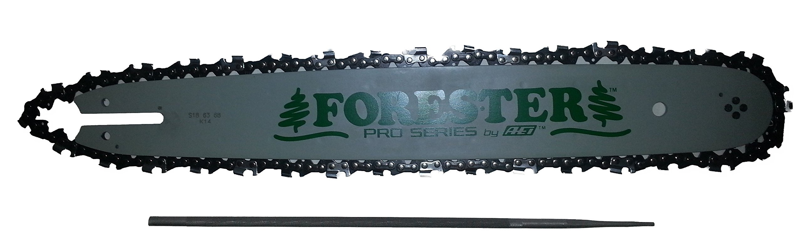 Forester 18'' Bar and Chain Combo Kit for Small Stihl Chainsaws .325 Pitch .063 Gauge Mount Including 3/16'' Round File 2 Piece Bundle by Forester