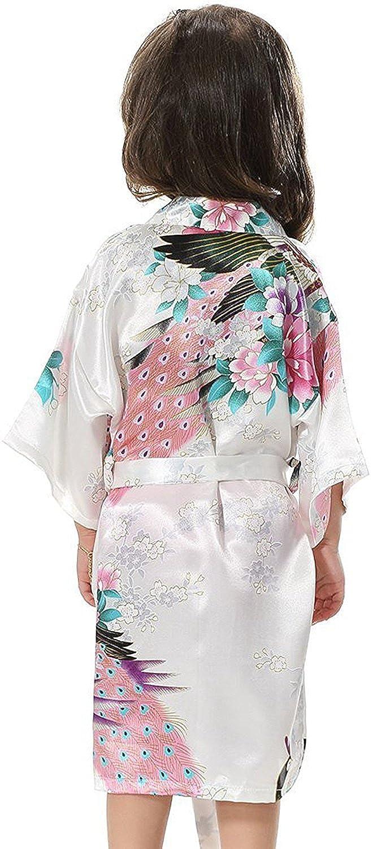 Minetom Ragazze Scollo A V Kimono Seta Pavone Accappatoi Accappatoio Vestaglia Pigiameria Pigiami Robe Di Raso Con Cintura