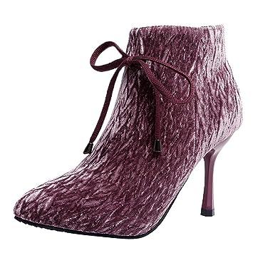 LuckyGirls Botas para Mujer Botines con Bowknot Botas Casual Moda Zapatos de Tacón Calzado Zapatillas Tacón de Aguja 8.5cm: Amazon.es: Deportes y aire libre
