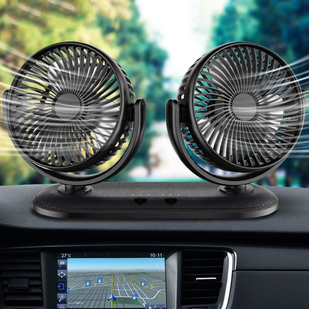 2020 Adjustable Portable Dual Head Leather Car Fan, 3 Speeds, Strong Wind, Rotatable Cooling Fan for SUV, RV, Boat, Vehicles Glasses, Dashboard, Wall Mounted USB Car Fan