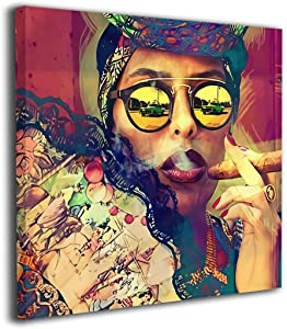 """Mikonsu Lihna 12""""x12"""" Canvas Wall Art Prints Cool African American Women Smoking -Picture Paintings Fashion Home Decoration Giclee Artwork-Ready to Hang"""