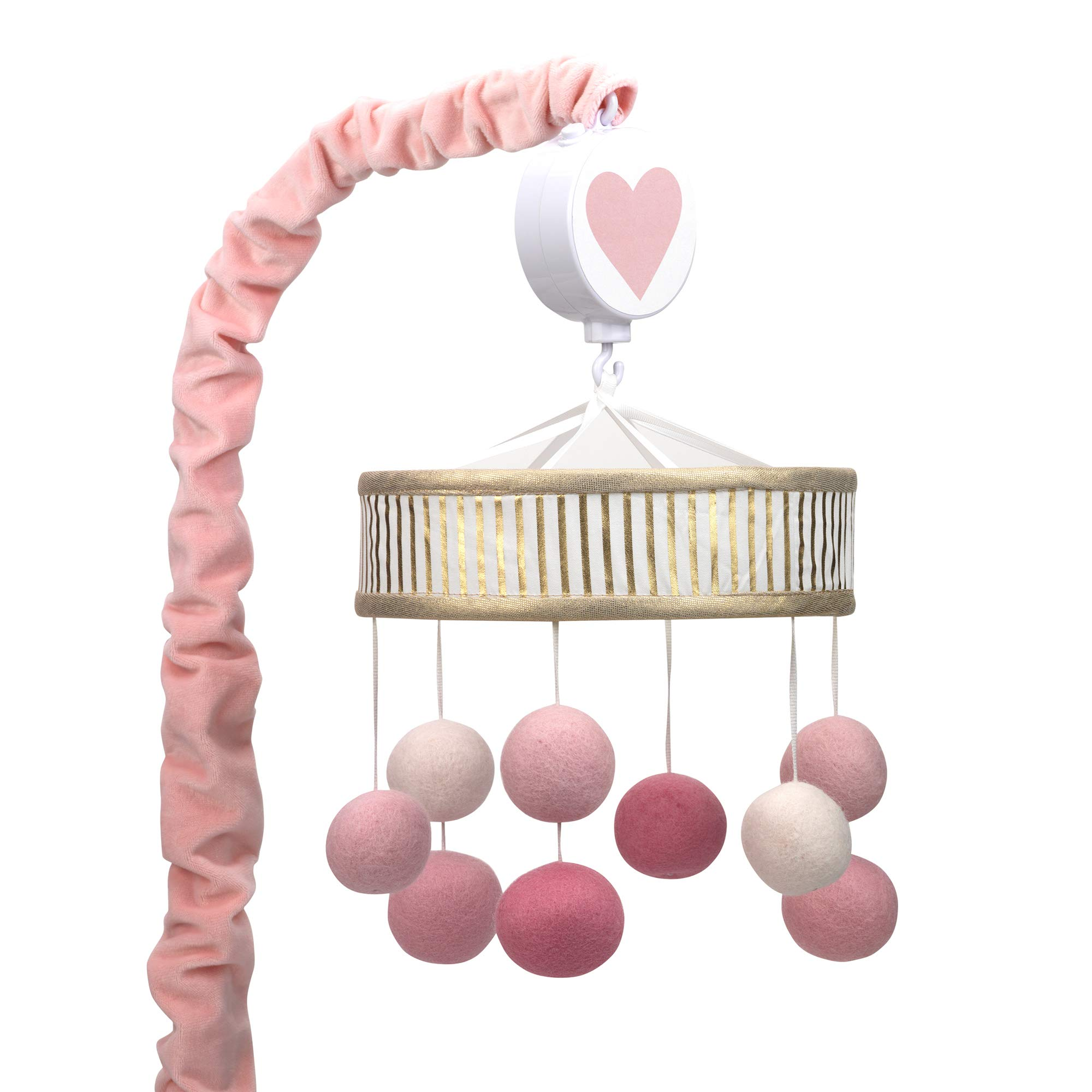 Lambs & Ivy Layla Pink/Gold Pom Pom Musical Baby Crib Mobile by Lambs & Ivy